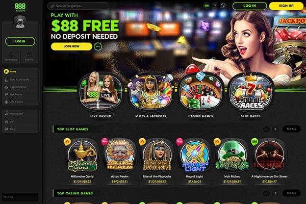 888 Casino Canada homepage
