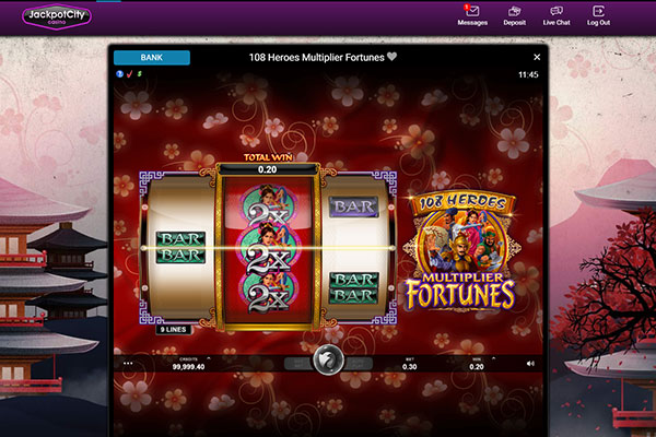 Jackpot City Canada 108 Heroes Multiplier Fortunes slot game