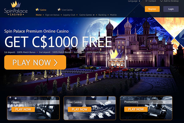 Spin Palace Casino Canada homepage