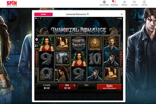 Spin Casino Immortal Romance slot game