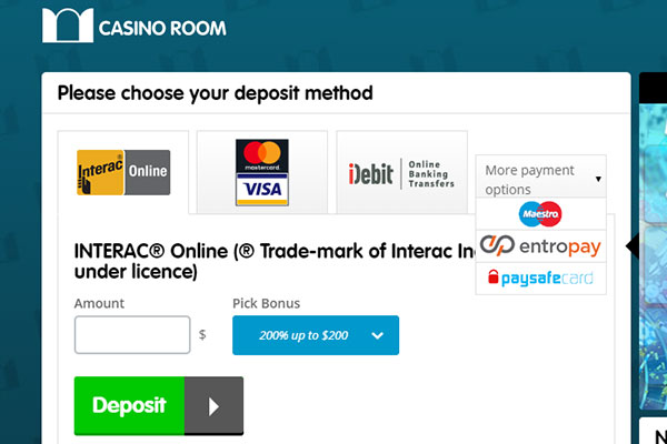 Casino Room CAD deposit methods