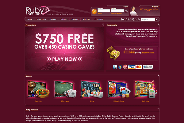 Ruby Fortune Casino home page