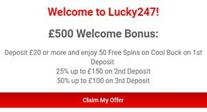 Lucky247 welcome bonus