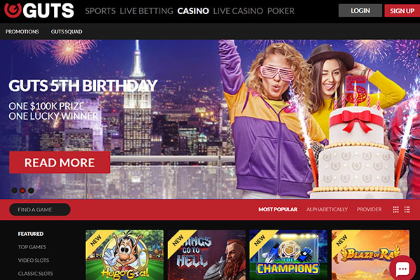 Guts Casino Canada home page