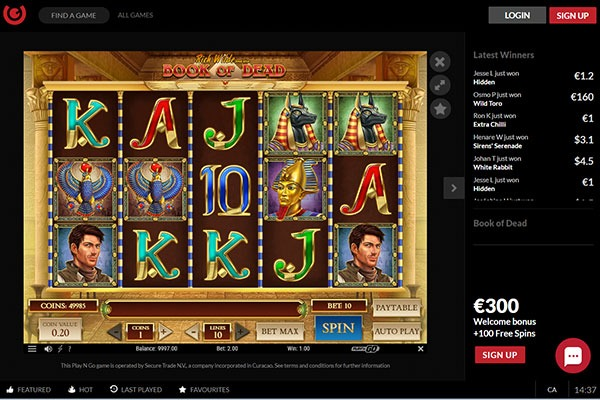 Guts Casino Book of Dead slot game