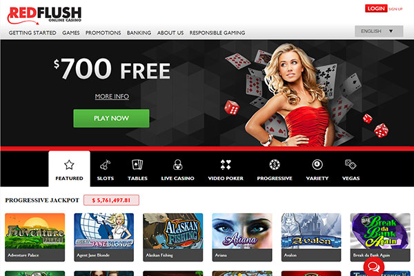 Red Flush Canada Casino home page