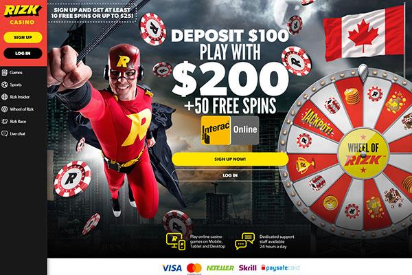 Rizk Casino Canada Interac Online homepage