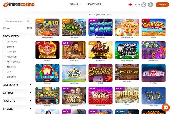 Instacasino Canada Games Providers