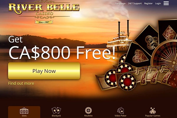 River Belle Casino Canada home page