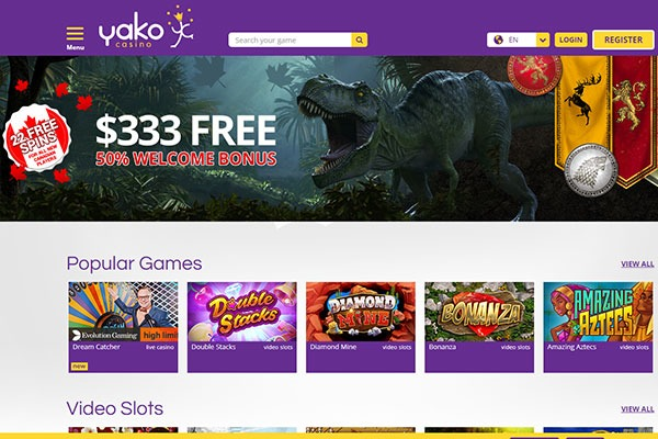 Yako Casino Canada home page