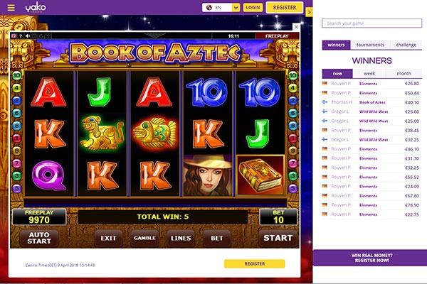Yako Casino Book of Aztec slot game
