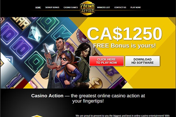 Casino Action Canada home page