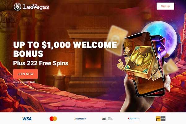 LeoVegas Casino Canada homepage