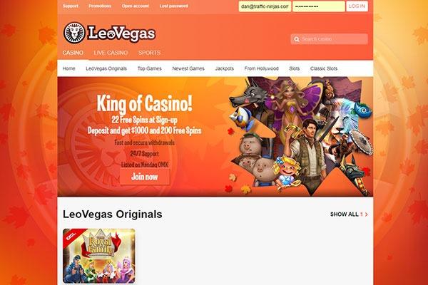 LeoVegas Canada home page