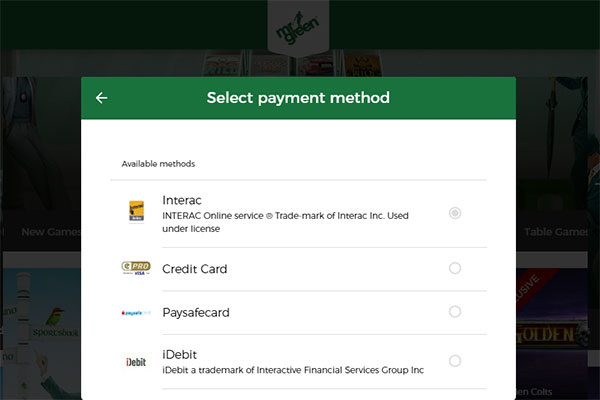 Mr Green CAD banking methods
