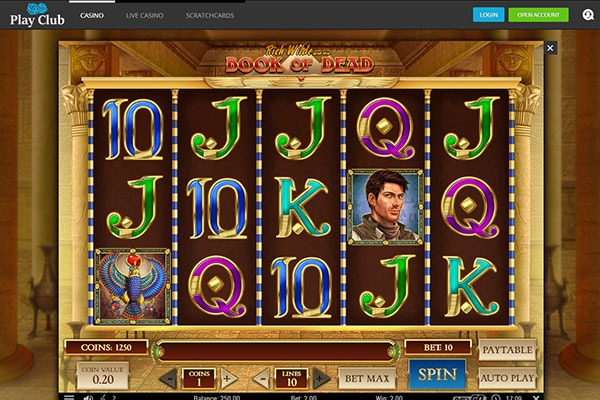 Play Club Book of the Dead slot game