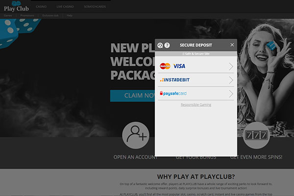 Play Club Casino Deposit Methods