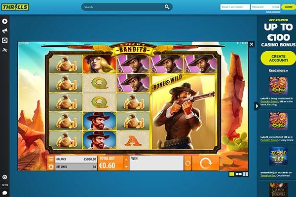 Thrills Casino Sticky Bandits slot game