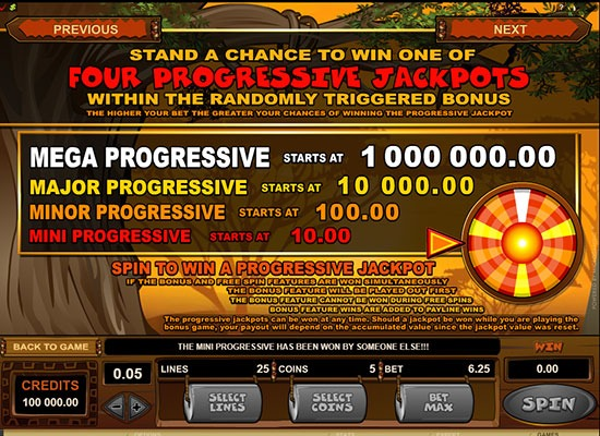 Mega Moolah Progressive Jackpot info card