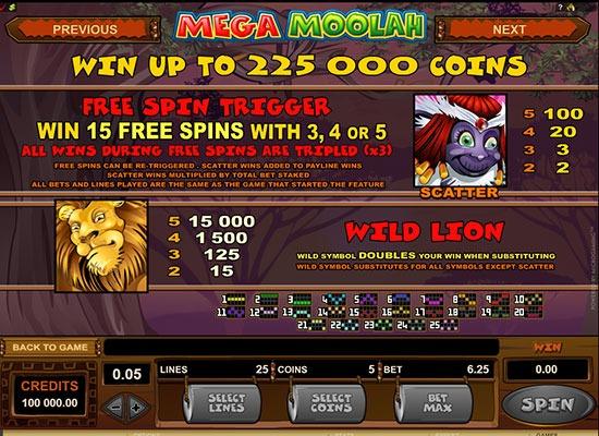 Mega Moolah Free Spins round info card