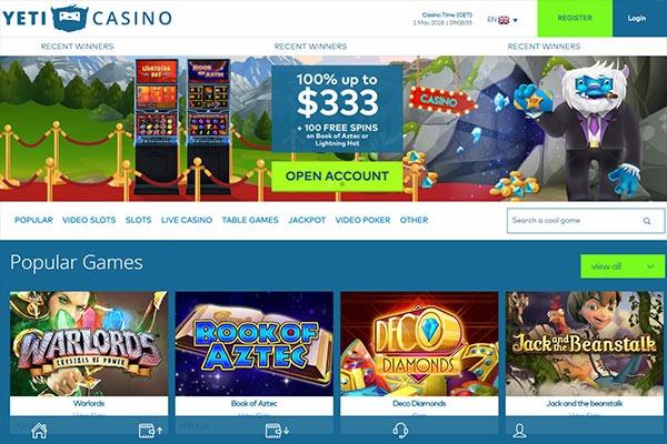 Yeti Casino Canada homepage