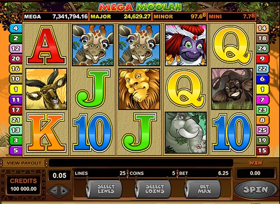 Mega Moolah slot game screenshot