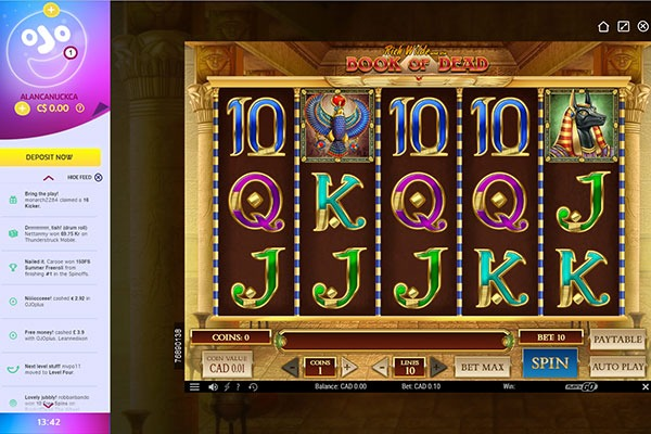 PlayOJO book of dead slot game