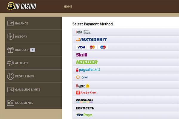Bob Casino CAD deposit methods