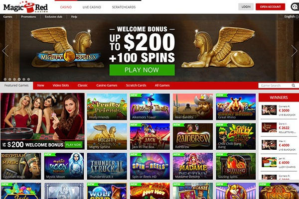 Magic Red Casino Home page