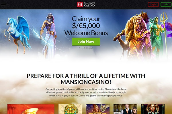 Mansion Casino Canada home page