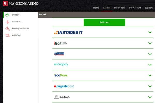 Mansion CAD Casino Banking