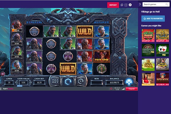 Party Casino Vikings slot game