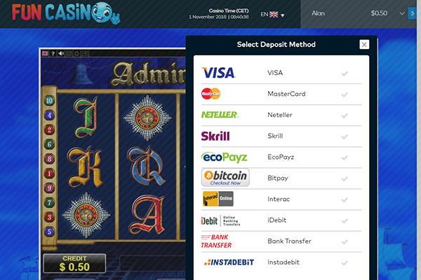 Fun Casino CAD banking methods