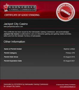 JAckpot City Kahnawake license