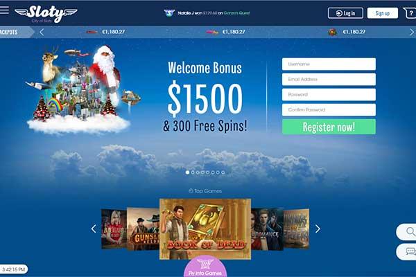 SLoty Casino Canada homepage