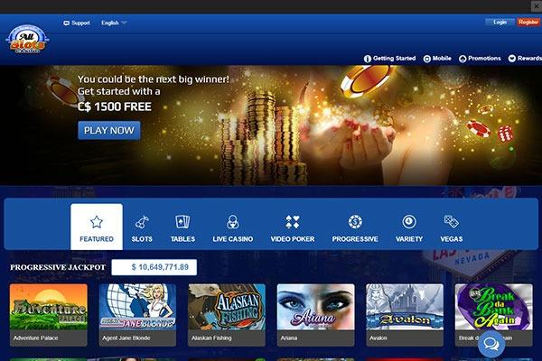 AllSlots Casino Canada home page