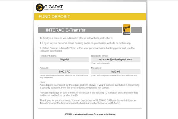 INterac eTransfer casino