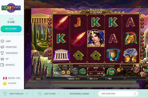 Spinia Casino Athena Golden Owl slot game